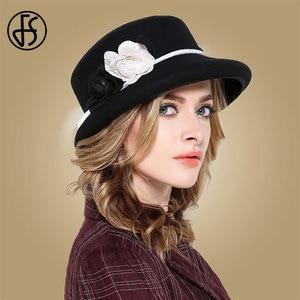 Image 3 - Fs womens fedora chapéus branco largo elegante borda feltro cloche chapéu preto vintage bowler fedora feminino floppy flor senhora meninas outono