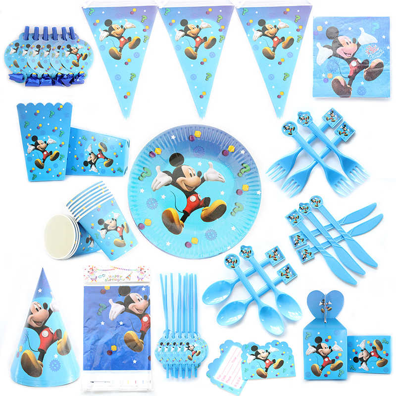 Mickey Mouse Theme Cartoon Party Set Balloon Tableware Plate Napkins Banner Birthday Candy Box Baby Shower Party Decoration