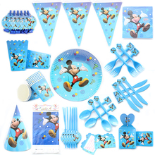 Mickey Theme Cartoon Party Set Balloon Tableware Plate Napkins Banner Birthday Candy Box Baby Shower Party Decoration