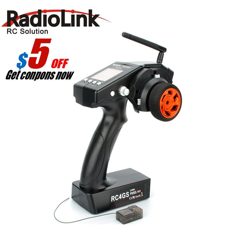 2017 RadioLink 4 Canal RC4GS/RC4G 2.4G 4CH Gun Controlador Transmissor + R6FG Giroscópio Dentro Receptor para RC baja carro RT Barco Rx