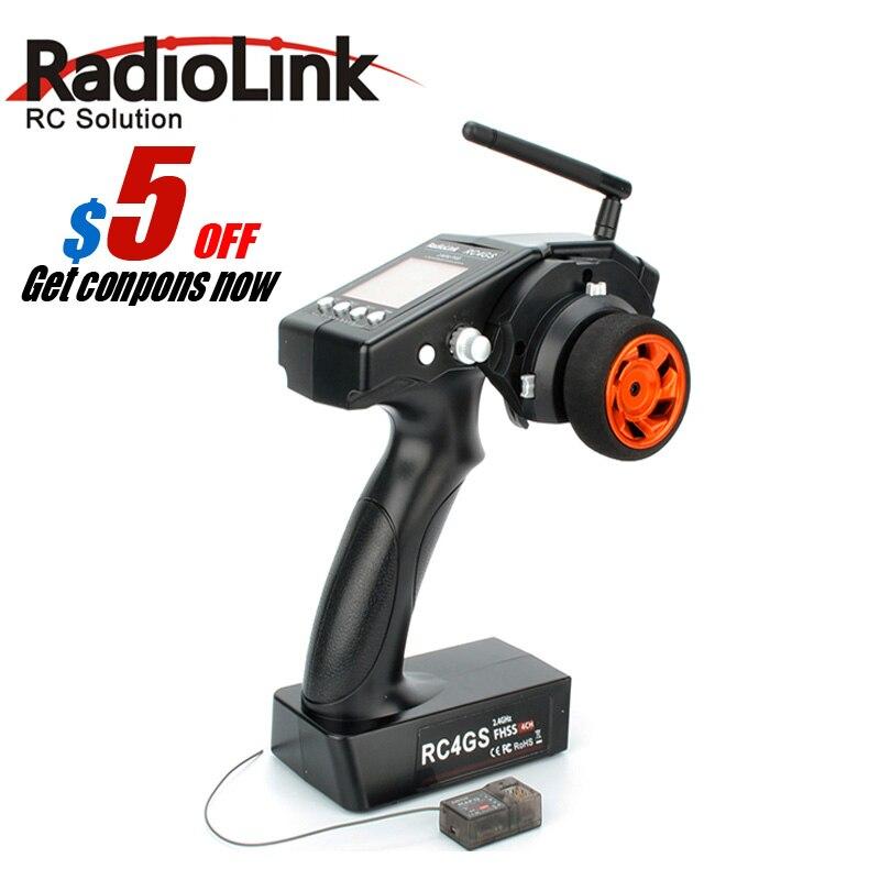 2017 RadioLink 4 Canal RC4GS/RC4G 2.4G 4CH Gun Controller Émetteur + R6FG Gyro À L'intérieur Récepteur pour RC Voiture Baja RT Bateau Rx