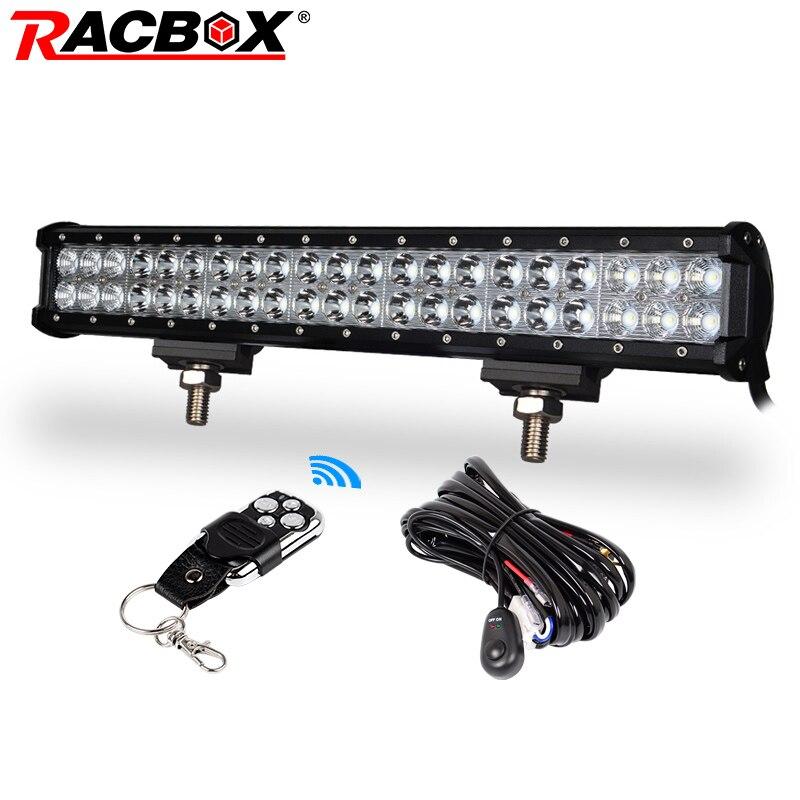 RACBOX 20 дюймов светодио дный светодиодный рабочий свет бар НАВОДНЕНИЕ точечный комбинированный луч 12 В в В 24 В для грузовика трактор ATV 4X4 внед...