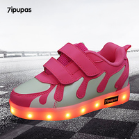 7 ipupas Boys & girls scarpe bambini carica usb led Gocce di acqua incandescente Studenti sneakers Unisex notte shuffle Luminoso sneakers