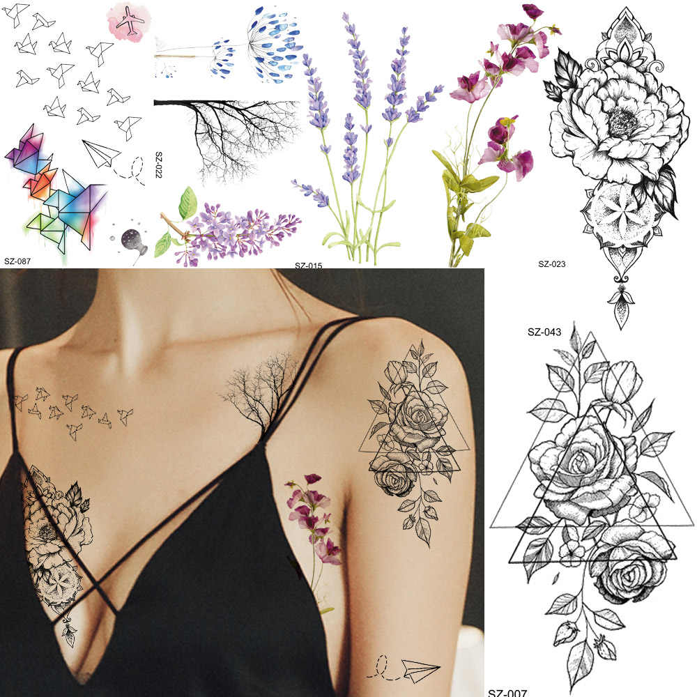 Watercolor Paper Plane Temporary Tattoo Stickers Women Body Art Arm Reed Branch Fake Tatoos Geometry Flower Lavender Tattoo Girl