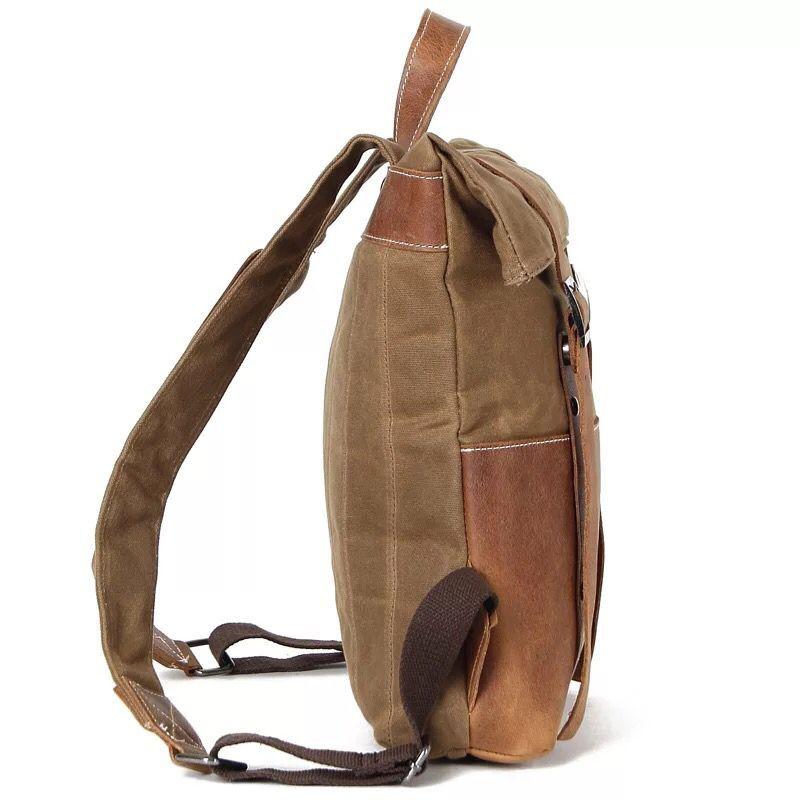 Mochila de lona para hombre Mochila Vintage impermeable bolsa de viaje de cuero Casual Mochila de hombro escolar Mochila militar para hombre-in Mochilas from Maletas y bolsas    3