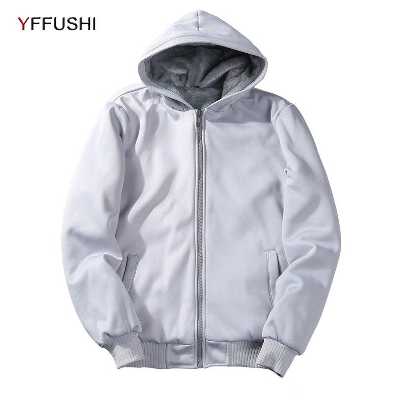 Yffushi 2018 Для мужчин свитер с капюшоном с бархатной осень с длинным рукавом Твердые Цвет кофты Для мужчин Повседневное кардиган с капюшоном пл...