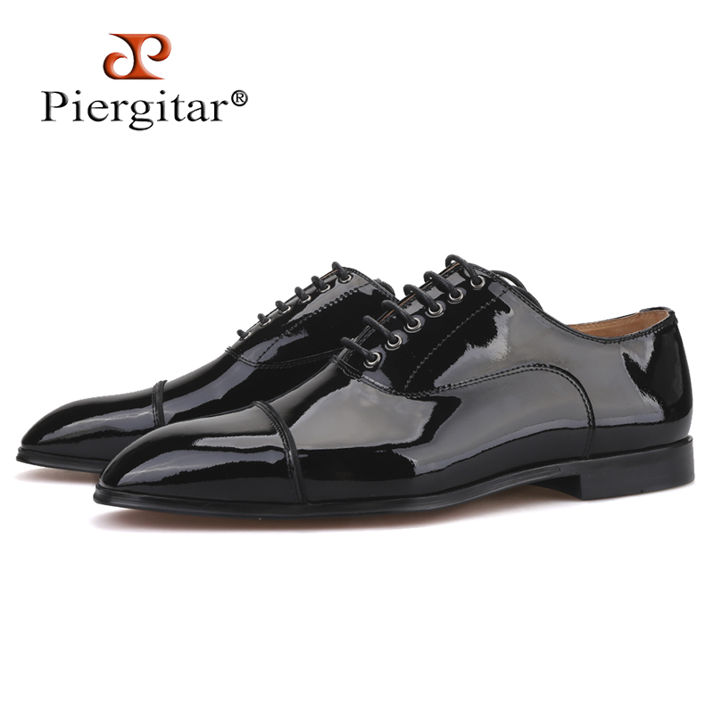 Piergitar 2019 Handmade Black Parent Leather Men Dress Shoes Wedding and Banquet men red bottom shoes