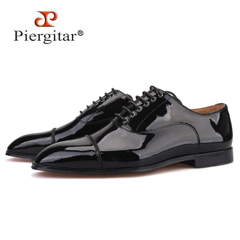 Piergitar 2019 Handmade Black Parent Leather Men Dress Shoes Wedding And Banquet Men Red Bottom Shoes Lace-up Men Derby Shoes