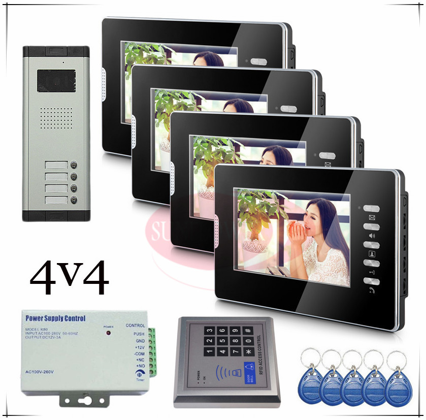 Brand new Wired 7 Video Door Phone Intercom Doorbell System 4 Monitor 4 buttons outdoor unit for 4 apartments Drop shipping brand new apartment intercom entry system 2 monitors wired 7 color video door phone intercom system for 2 house free shipping