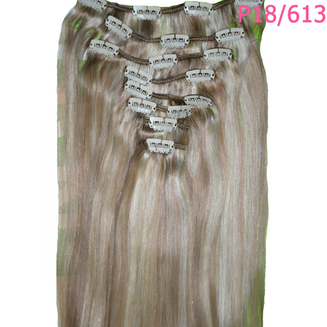 22inches 8Pcs 120g Natural Straight Remy Clip in Hair Extension Light Blond 15 colors Free Shipping Gift Ring ring ring