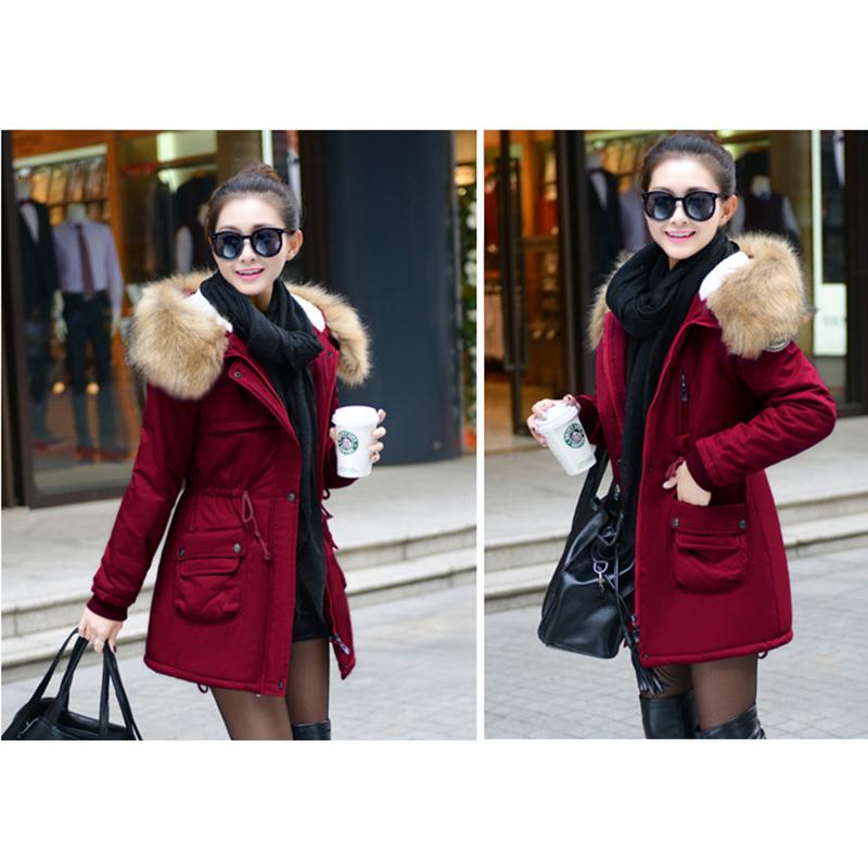 Adjustable Waist Women Parkas Big Pockets Fur Hooded Long Coats Female Outwear Cotton Warm Winter Ladies Jackets Coat MDEW541 11