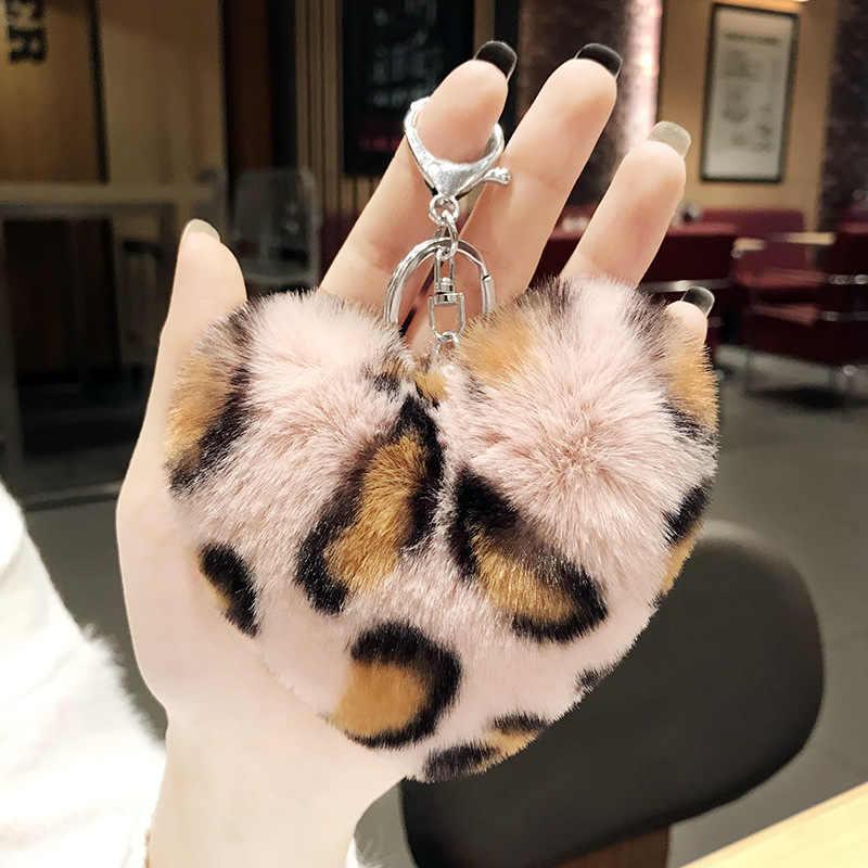 Bonito Grande Bola De Pêlo Macio & Fluff com Estampa de Leopardo Em Forma de Coração Chaveiro Chave de Cadeia Para Mulheres Meninas de Prata Cadeia de Jóias presentes de aniversário