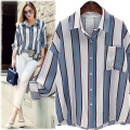 2017 Spring women Blouses Bat sleeve Striped Loose Vintage office shirts Basic Women Tops Blusas Shirt Camisas Femininas 5XL