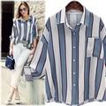 2017 Spring women Blouses Bat sleeve Striped Loose Vintage office shirts Basic Women Tops Blusas Shirt Camisas Femininas 5XL