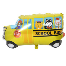 Yellow School Bus Cute Foil Balloons For Children Baby Shower Decoration Big Toys Kids Train Tank Globos Balos
