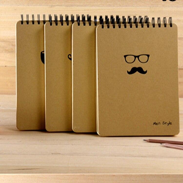 B5 big vintage retro spiral paper notebook for diary planner journal mustache eye glasses hat kraft cover blank inner office