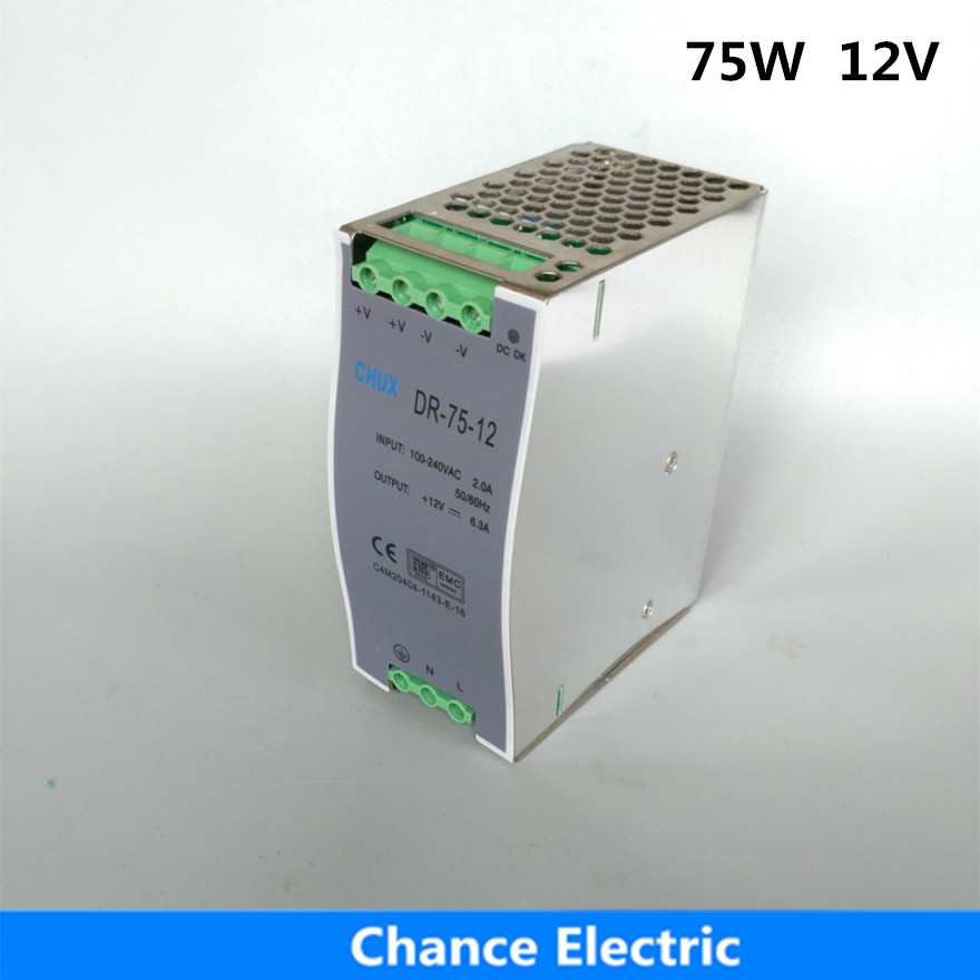 75W 12V 6.25A Switching Power Supply Din rail type DR75W-12V single output LED Power Supplies dr 75 12 din rail 75w 12v single output switching power supply din rail 12v 75w
