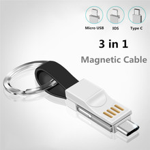 JUSFYU Keychain USB Cable Micro Type C Portable For iPhone Samsung 3 in 1 Mini Charger Charging Cables