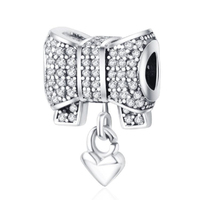 Factory Price 925 Silver Color Beads Heart And Bow Charm Fit Original Pandora Charms Bracelet DIY