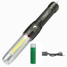 XPE COB светодиодный 2x светильник, источник света, светильник-вспышка, перезаряжаемый жезл, дорожный светильник, мощный магнит, Рабочий фонарь с крюком, 18650, лампа для кемпинга