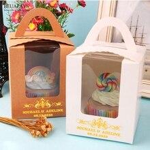 100pcs Personalizado Personalização nome logotipo data do casamento caixa de doces chá de bebê natal Caixa de Embalagem DIY Hand held Ponto caixas