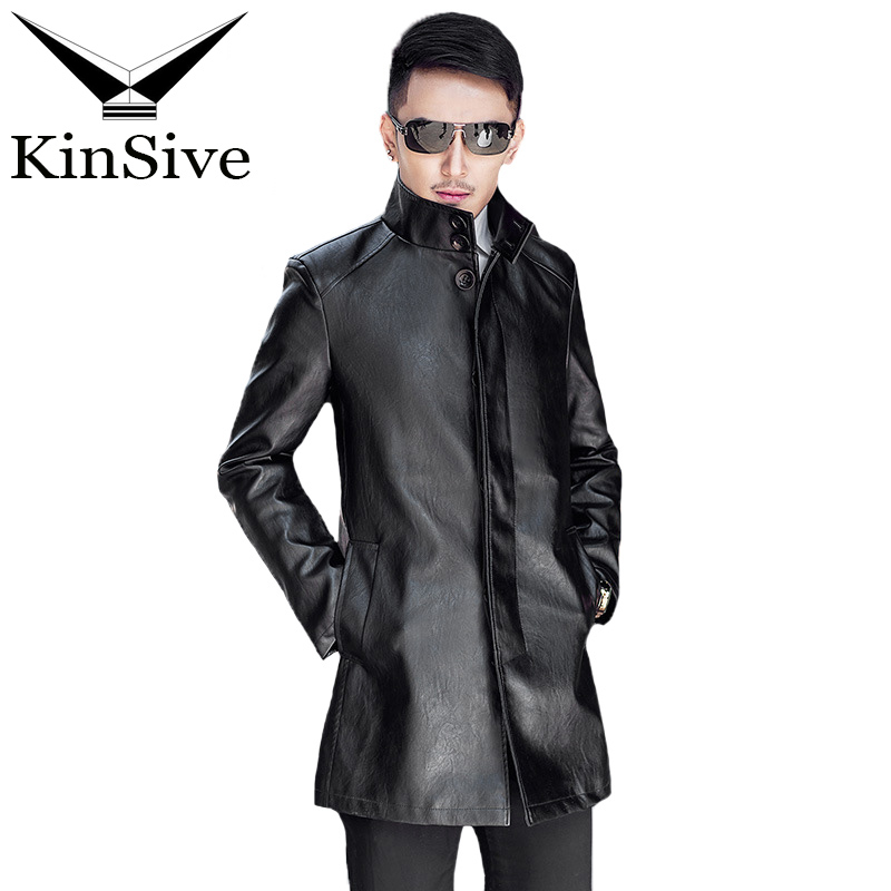 Winter Long Trench Coat Men Fashion PU Leather Jackets Korean Style Men Slim Fit Formal Business Windbreaker Mens Overcoat 2018