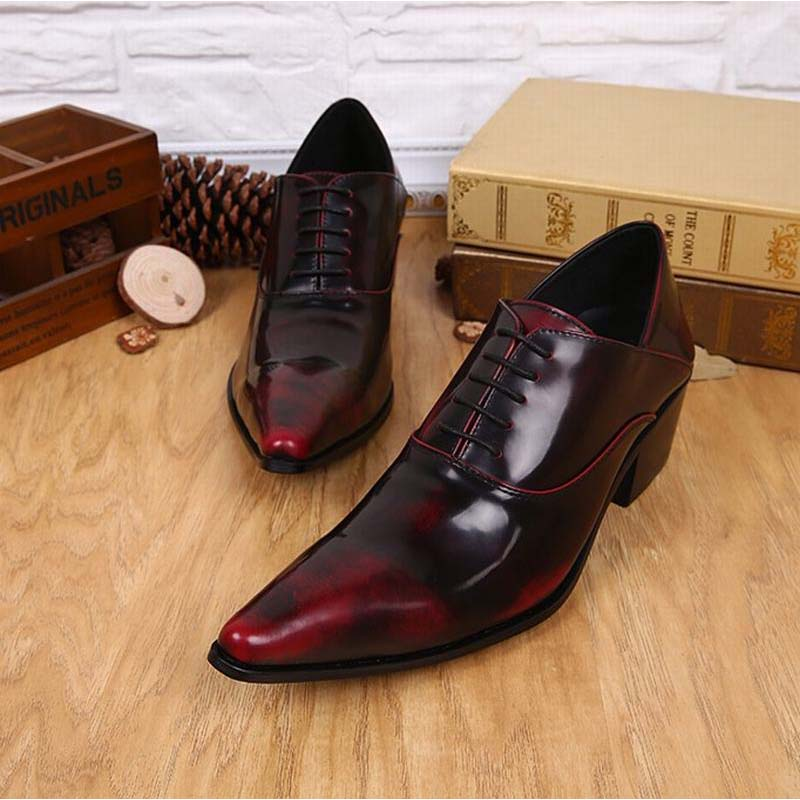 vintage wine red men dress shoes genuine leather lace-up business wedding male shoes retro man fashion pointed toe high heels new arrival men casual business wedding formal dress genuine leather shoes pointed toe lace up derby shoe gentleman zapatos male