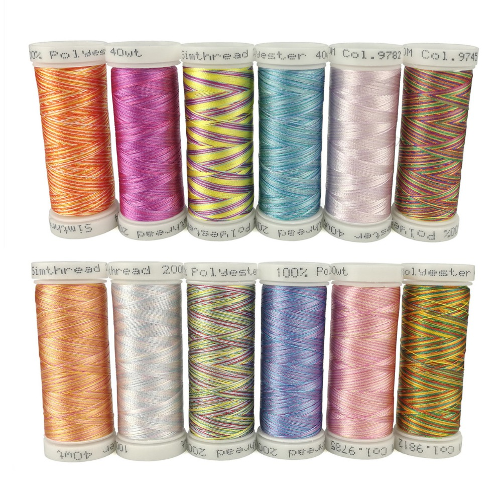 Simthread 12 Multi-colors Embroidery Machine Thread Bobbins 300 Meters Each As Machine/hand Sewing Quilting Overlocking Threads