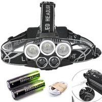 Super 25000LM 5X XML T6 LED Rechargeable USB Headlamp Headlight Head Light Torch 2x 18650 Battery
