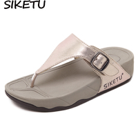 SIKETU Preppy Style Student Women Slippers Thong T Strap Sandals Thick Bottom Light Sole Platform Wedge