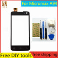 Free DIY Tools+100% New Touch Screen  For Micromax A94 Glass Capacitive sensor  For Micromax A 94 Touch Screen panel Black