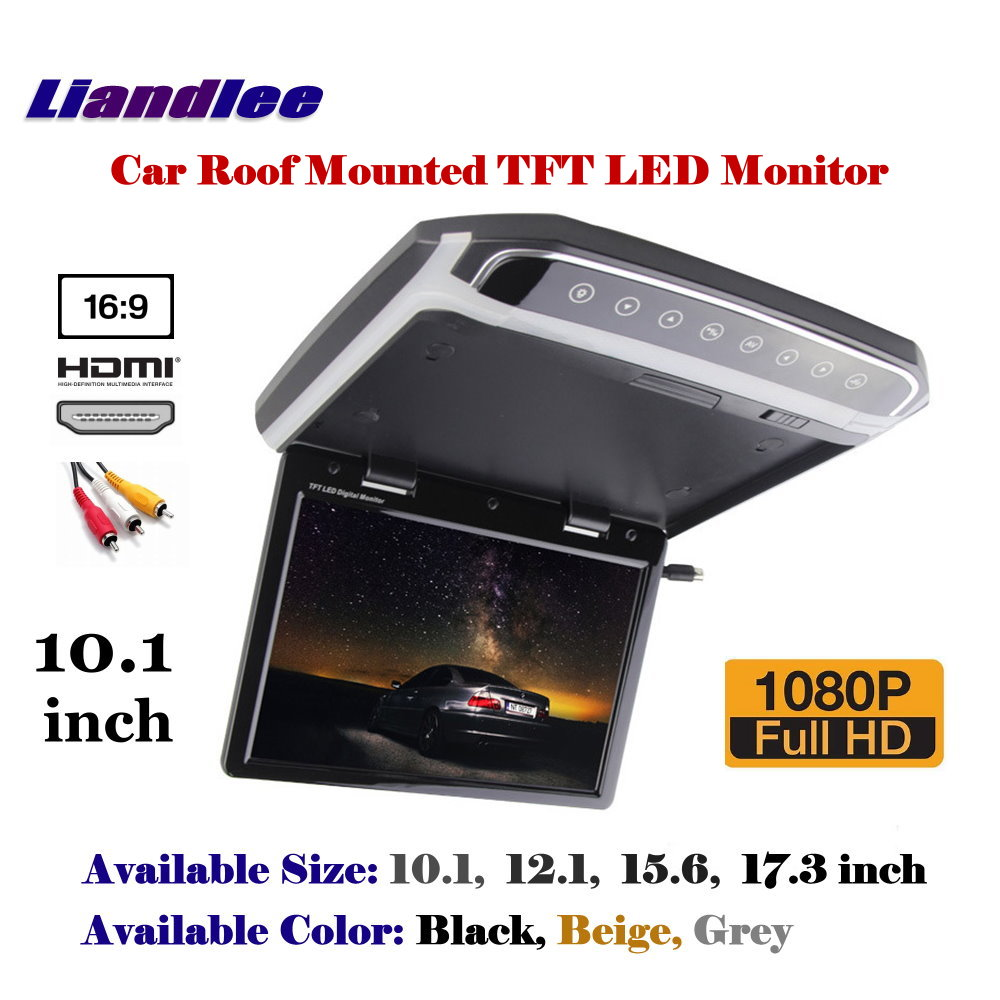 10.1 inch Car Roof Mounted Monitor / Flip Down Display / Overhead Ceiling TFT LED Screen / 1080P HD Color Digital TV MP5 Player gizcam 10 2 car ceiling flip down overhead roof mount hd screen video monitor car flip down monitor new