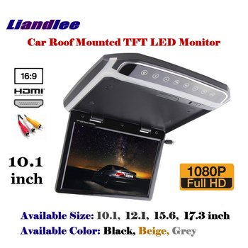 10.1 inch Car Roof Mounted Monitor / Flip Down Display / Overhead Ceiling TFT LED Screen / 1080P HD Color Digital TV MP5 Player image