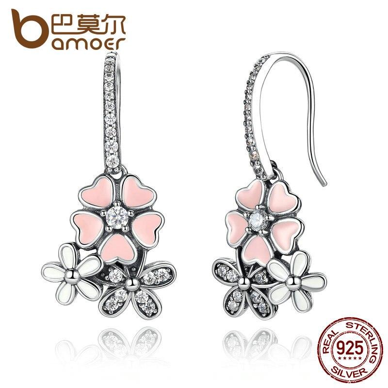Bamoer 100% 925 sterling silver pink flor poética margarita cherry blossom pendientes de gota con la perla joyería posterior sce016
