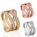 Modern AAA Crystal Diamante Wedding Rings Luxury Rose Gold Silver Filled Women Men Ring Engagement Gifts Drop Shipping
