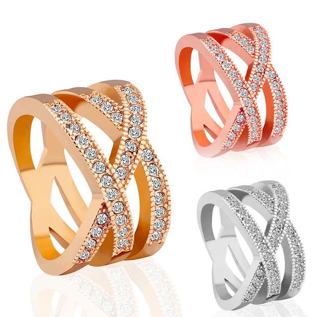 Modern AAA Crystal Diamante Wedding Rings Luxury Rose Gold Silver