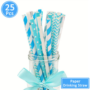 Image 3 - 25pcs Paper Drinking Straws Happy Birthday Decoration First Birthday Baby Boy Girl Party Just Married Supplies 1st One Year