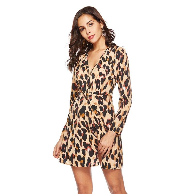 GOPLUS Sexy Leopard Print Chiffon Short Dress Women V Neck Long Sleeve Split Mini Dress 2019 Spring A line Party Vestidos Female in Dresses from Women 39 s Clothing