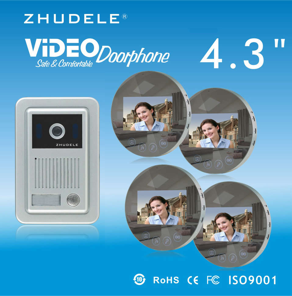 ZHUDELE Home Security Speakerphone intercom 4.3LCD monitor Color Video Door Phone doorbell HD CCD Peephole Camera w/t Cover 1V4