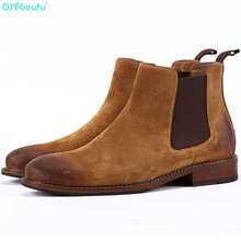 Autumn Winter Suede Shoes Men Genuine Leather Ankle Boots New 2019 Brand Comfortable Winter Men's Chelsea Boots