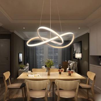 Скандинавские креативные линии цикл дизайн LED люстра постмодерн Металл черная краска силиконовая диммируемая для спальни украшение приспо...
