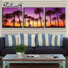 FULLCANG 3pcs diy sunset landscape tree diamond painting mosaic cross stitch full drill 5d embroidery handmade hobby G1179