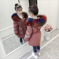 Children girl real fur hooded long down coat jacket warm for kids big baby girl 4 6 7 10 14 winter parkas design clothes dresses