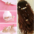 Delicate Gold leaf hair comb bride big pearl hair pins wedding Combs Hairpin rhinestone bridal hair accessories