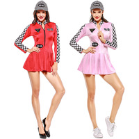 Red Pink Sexy Ladies Race Girl Mini Dress Long Sleeves Costume Race Car Driver Outfit Racing Car Girl Game Uniform