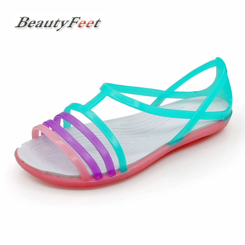 Women Sandals Summer New Candy Color Women Shoes Peep Toe Beach Valentine Rainbow Casual Jelly Shoes Woman Flats BeautyFeet