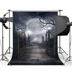 Image 1 - Fondo de fotografía sin costuras Halloween Horror noche misteriosa Luna puerta escena recién nacido fondo