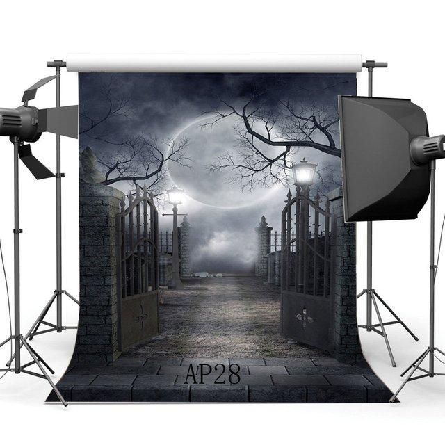 Seamless Photography Backdrops Halloween Horror Night Mysterious Moon Door Scene Newborn Background
