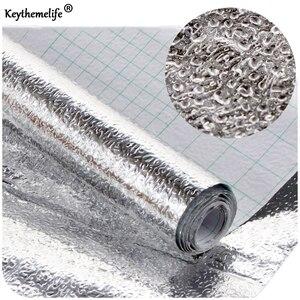 Водонепроницаемые самоклеящиеся наклейки из алюминиевой фольги с защитой от масла, серебряные обои для кухонного ящика, DIY обои 40x10 0/200 см