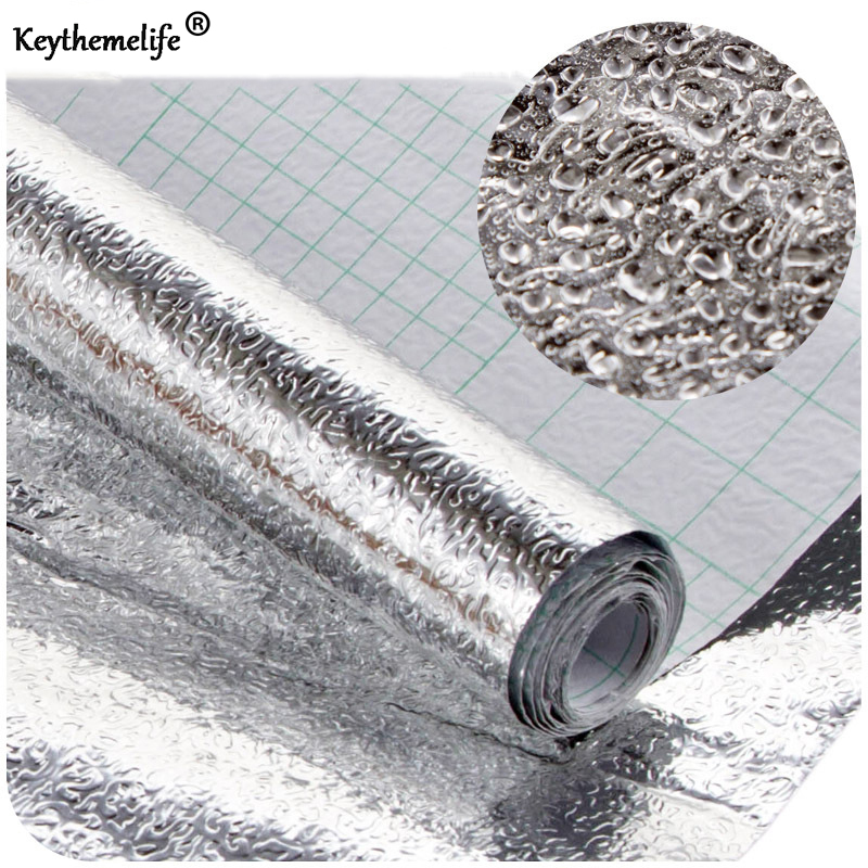 Thick Waterproof Anti-oil Aluminium Foil Self-adhesive Stickers Mats Sliver Wallpaper for Bathroom Kitchen Drawer B